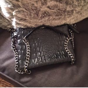 Black croc crossbody bag with thick chain